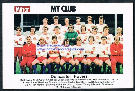 1970 My Club Daily Mirror postcard-size card Doncaster Rovers